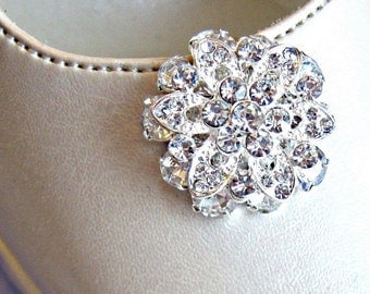 Wedding Shoe Clips, clear crstal, Rhinestone flower clips for bridal shoes, vintage style wedding accessories