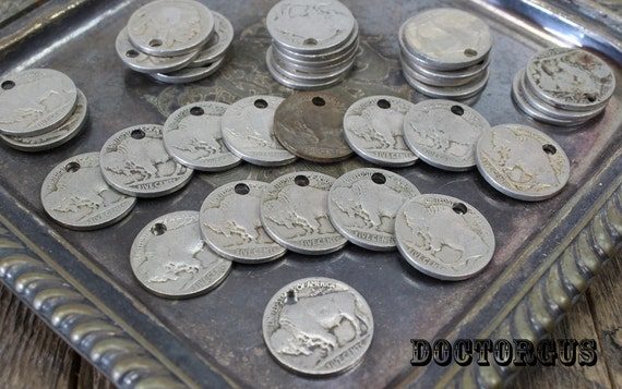 10 Piece Buffalo Nickel Pendant, Earring, or Bracelet Parts Assortment - Genuine Coins With Holes - Ready to Make Your Own Currency Jewelry