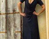 ORGANIC Float Neck Long Dress (locally milled organic tissue cotton)