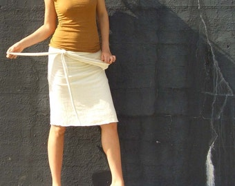Organic Simplicity Wrap Short Skirt (light hemp/organic cotton knit) - organic skirt