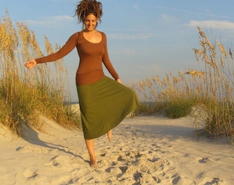 ORGANIC Hemp Skirt - Wanderer Below Knee Skirt (LIGHT hemp/organic cotton knit)