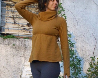 Chunky Cowl Empire Simplicity Shirt ( FLEECE Hemp/Organic Cotton Knit ) - Organic Shirt