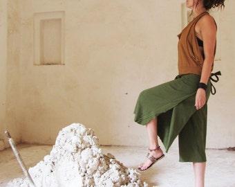 ORGANIC Tie Wrap Gauchos - ( light hemp and organic cotton knit ) Organic Wrap Pants