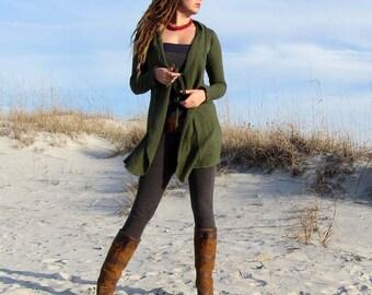 Organic Women's Cardigan - Tie-Front Simplicity Short Fleece Cardigan ( FLEECE Hemp/Organic Cotton Knit )