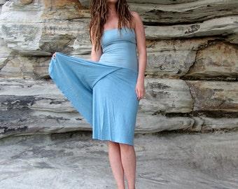 Organic Love me 2 Times Faux Wrap Below Knee Dress ( light hemp and orgnaic cotton knit ) - organic dress