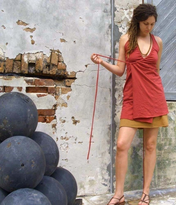 Organic Dress - Drawstring Wrap Tunic Dress - ( organic cotton knit ) - organic cotton dress