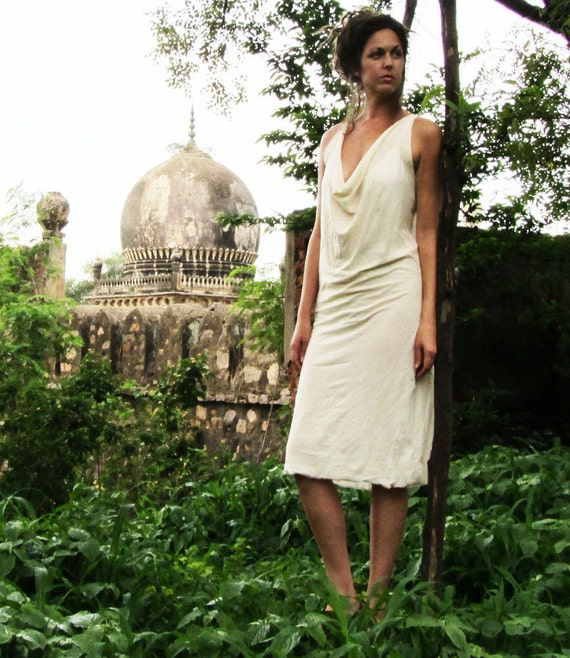 Organic Float Neck Simplicity Short Dress - ( organic tissue cotton ) - organic cotton dress