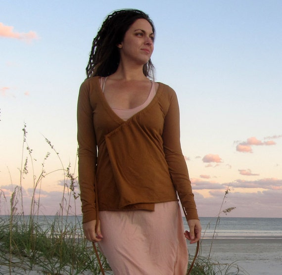 ORGANIC Drawstring Wrap Simplicity Shirt - ( locally milled organic cotton knit ) - organic cotton shirt