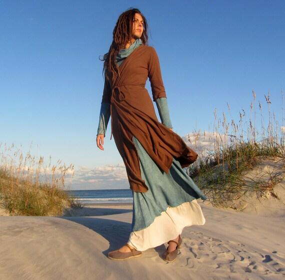 ORGANIC Belted Below Knee Cardigan (light hemp and organic cotton knit)