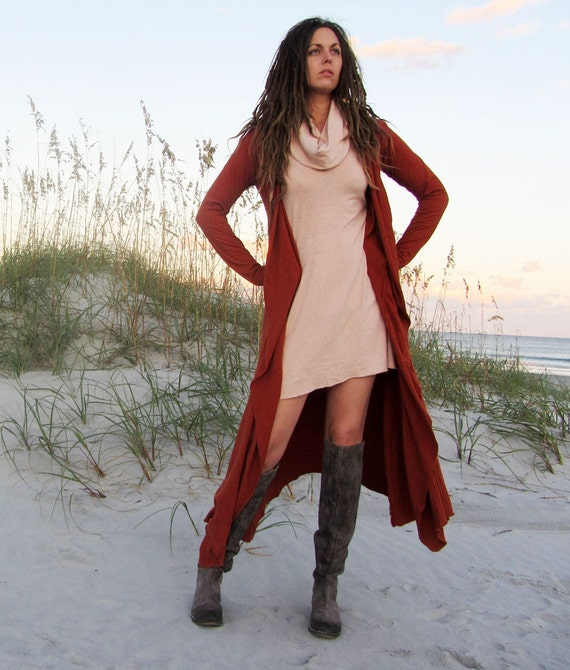 ORGANIC Belted Long Cardigan - ( light hemp and organic cotton knit ) - Organic Womens Hemp Jacket