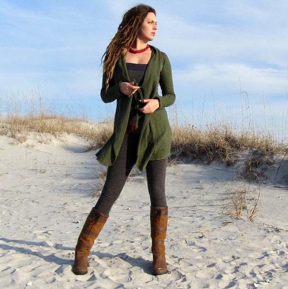 Hemp Tie Front Short Simplicity Fleece Jacket ( hemp and organic cotton fleece ) - organic hemp  jacket