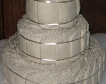 7th Seventh Generation 3 tier DIY Designer DIAPER CAKE Earth's Best Tendercare Undecorated Plain 80 Diapers