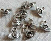 10 Mini Eye Charms, Silver Plated