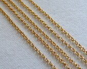 1.5mm Small Rolo Chain, Matte 22 Karat Gold Plated