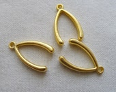 3 Large Wishbone Charms, 22K Gold Plated