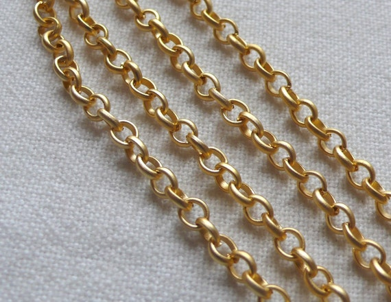 4mm Rolo Chain, 22K Gold Plated