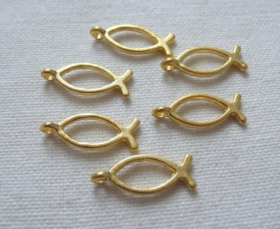 6 Fish Charms, 22K Gold Plated