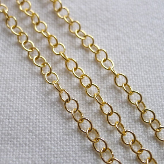 Delicate Oval Link Chain, 22K Gold Plated