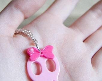 Cute pink skull quirky kawaii punk necklace