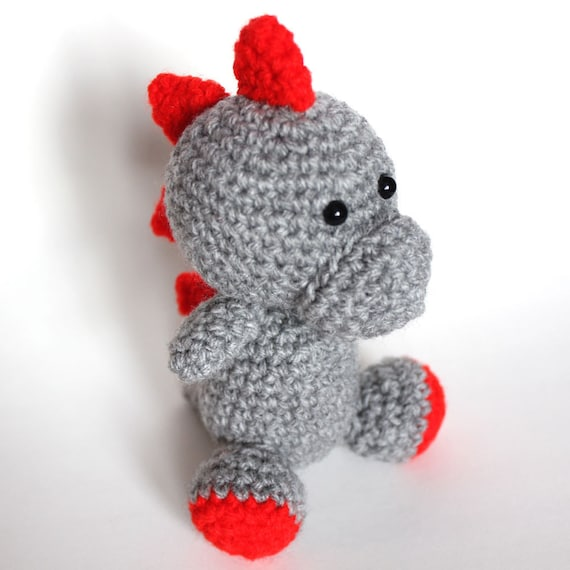 Amigurumi Grey and Red Dinosaur