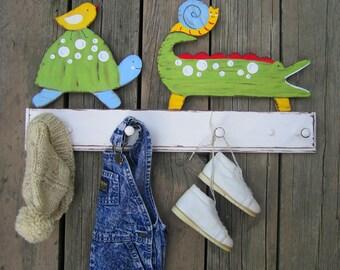 Kids Coat Rack ALLIGATOR Peg Rack -  Hand Painted Wood