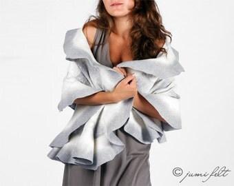 Felted scarf wavy ruffled shawl - One Bright Silver Dream - Handmade wool and silk