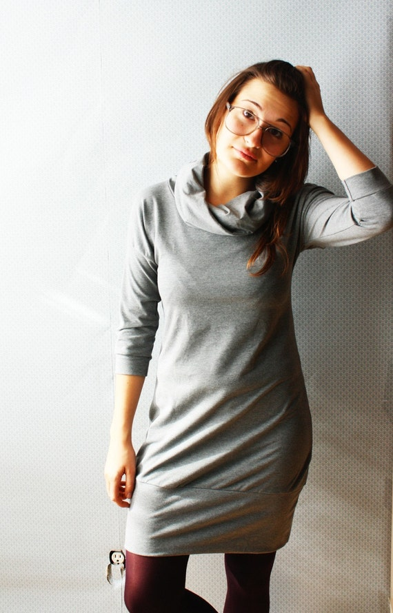 new colors / bamboo french terry turtleneck dress / made to order / by replicca / size S to XL / your choice of colour