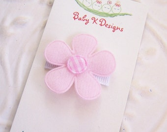 Pink and White GINA No Slip Infant Clip Bows for Newborn Small Itty Bitty Snap Clips For Toddler Girls Too