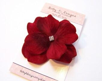 Newborn Baby Snap OR Girls Alligator Hair Clip Small Red Velvet Flower Bow Barrette / Girls No Slip Hairbow Fine Hair Accessory for girls