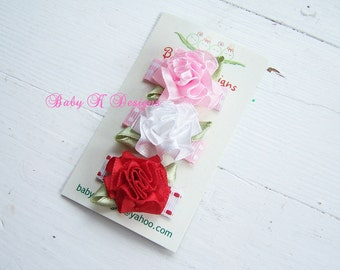 Infant Clips/ Baby Snap Clips / Newborn Clips / Itty Bitty Size Pink White and Red Trio of Cabbage Rose Bows Clippies