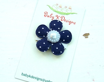 Navy Blue Baby Bow/ Baby Snap Clips / Itty Bitty Clips / Infant Clips / Girls Bows / No Slip Hair Clip / Blue n White Polka Dot  Flower Clip