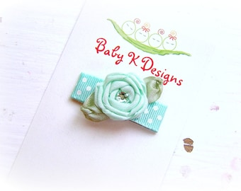 Baby Bow/ Baby Snap Clips / Itty Bitty Clips / Infant Clips / Toddler Girls Bows / No Slip Hair Clip / PIPPA Rolled AQUA Satin Flower Clip