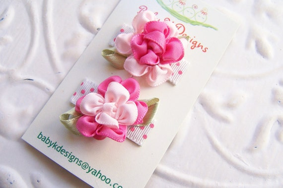 Baby K girl snap clips/ Infant Clips / Baby Clips / Newborn Clips / Itty Bitty Pink Satin Agnes Flower  Clip 2 Pack   / Baby First Bows