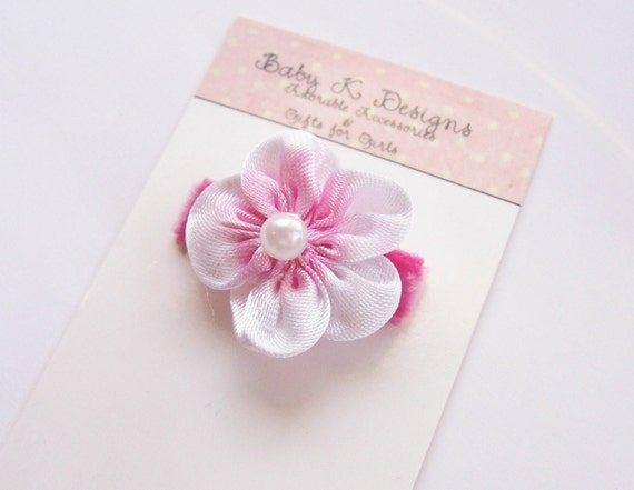 Infant Clip / Baby Clip / Pink Satin Flower No Slip Infant Clip Bows for Newborn Small Itty Bitty Snap Clips