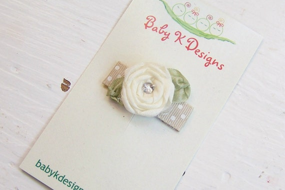 Baby Bow/ Baby Snap Clips / Itty Bitty Clips / Infant Clips / Toddler Girls Bows / No Slip Hair Clip / PIPPA Rolled IVORY Satin Flower Clip
