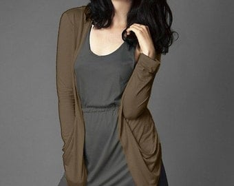 SALE Tencel Drapey Soft Slouchy Open Cardigan // Army Green // Made in USA