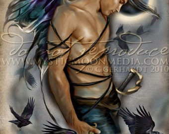 Raven... Warrior Fay... Man Fairy Pictures Art... Print... Fantasy Art... Ravens...Moon...Handsome Masculine Male Fairy