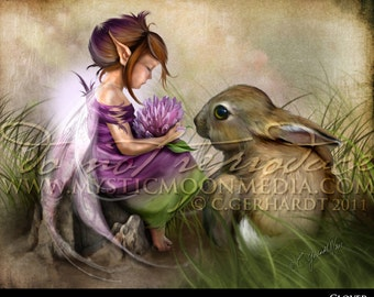 Clover...Child Fairy Picture Art...Matted Print... Fantasy Art... Little Fairy Girl... bunny...Cute Rabbit... Fairy Pictures