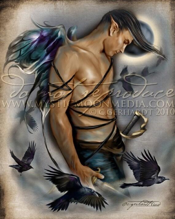 Raven... Warrior Fay... Man Fairy Pictures Art... Print... Fantasy Art... Ravens...Moon...Handsome Masculine Male Fairy