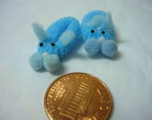 Blue Bunny Slippers Dollhouse Miniature 1/12 scale for Doll House's, Fairy House's, Printers Drawer's, or Knick Knack Shelves