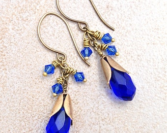 Forget Me Not Earrings of Faceted Glass, Swarovski Crystals, and Brass