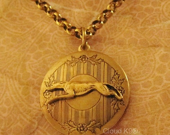 GREYHOUND Whippet LOCKET NECKLACE Vintage Style Greyhound Whippet Jewelry for Dog Lovers by Cloud K9 . Photo Locket Pendant Holds 2 Photos