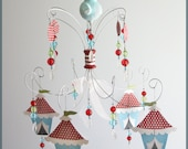 Circus Elephant Chandelier Mobile- Baby Mobile- Nursery Mobile- Blue- Red