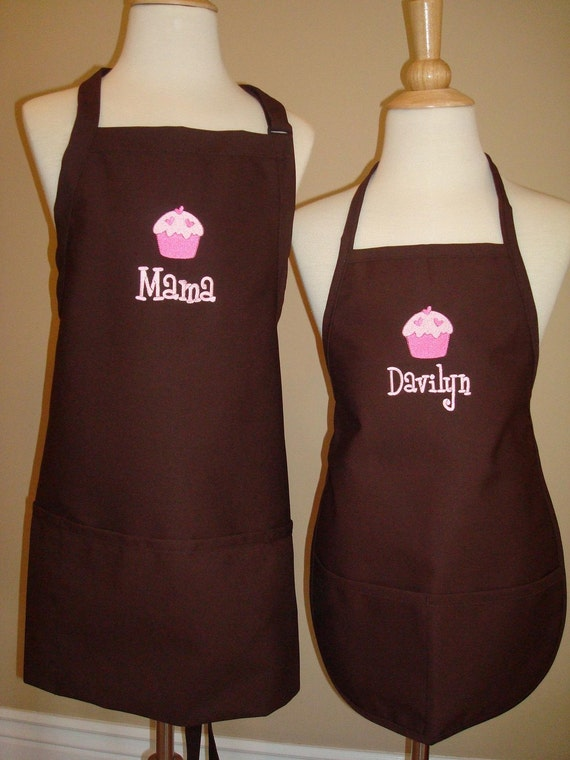 Personalized Mommy Daughter Brown Apron Set GREAT christmas gift