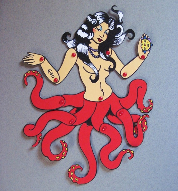 Posable OCTOPUS Paper Doll Old School Tattoo Art Pinup - Cut and Assemble
