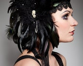 Feathers, Lace, Cameo & Swarovski Headdress, Flapper, Gothic, Burlesque