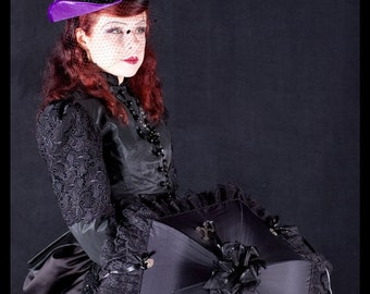 Velvet Tricorn Hat with Veiling and Feathers, Dita, Gothic