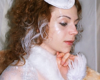 Mini White Velvet  and Feathers Top Hat, Burlesque Style.
