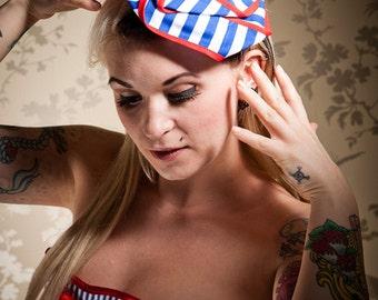 Nautical Rose Fascinator, Sailor, Burlesque Style, Wedding Fascinator