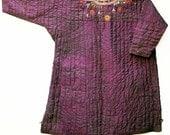 Vintage Turkmen Tunic, Quilted Silk, XL